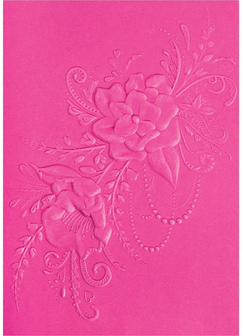Sizzix - 3-D Textured Impressions Embossing Folder - Flower Heart Doodle