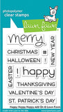 Lawn Fawn - Photopolymer Clear Stamps - Happy Happy Happy Add-on