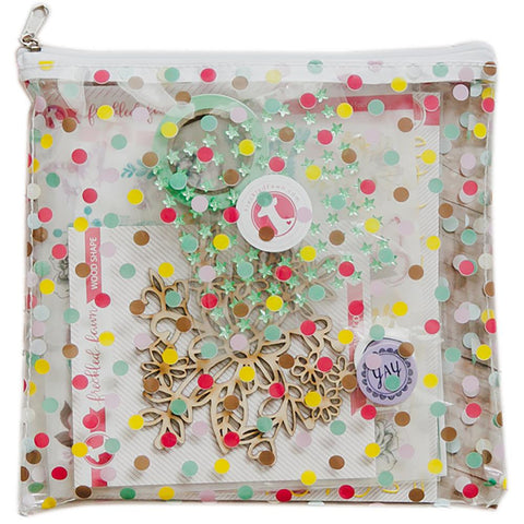 Freckled Fawn - Printed Clear Plastic Zippered Pouch - Spring Polka