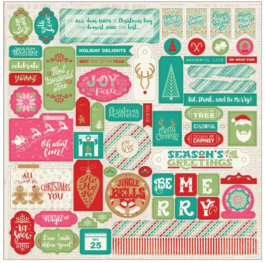 Authentique Paper - Colorful Christmas Cardstock Stickers - Details