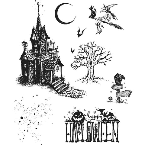 Tim Holtz - Stampers Anonymous Cling Stamps - Haunted House
