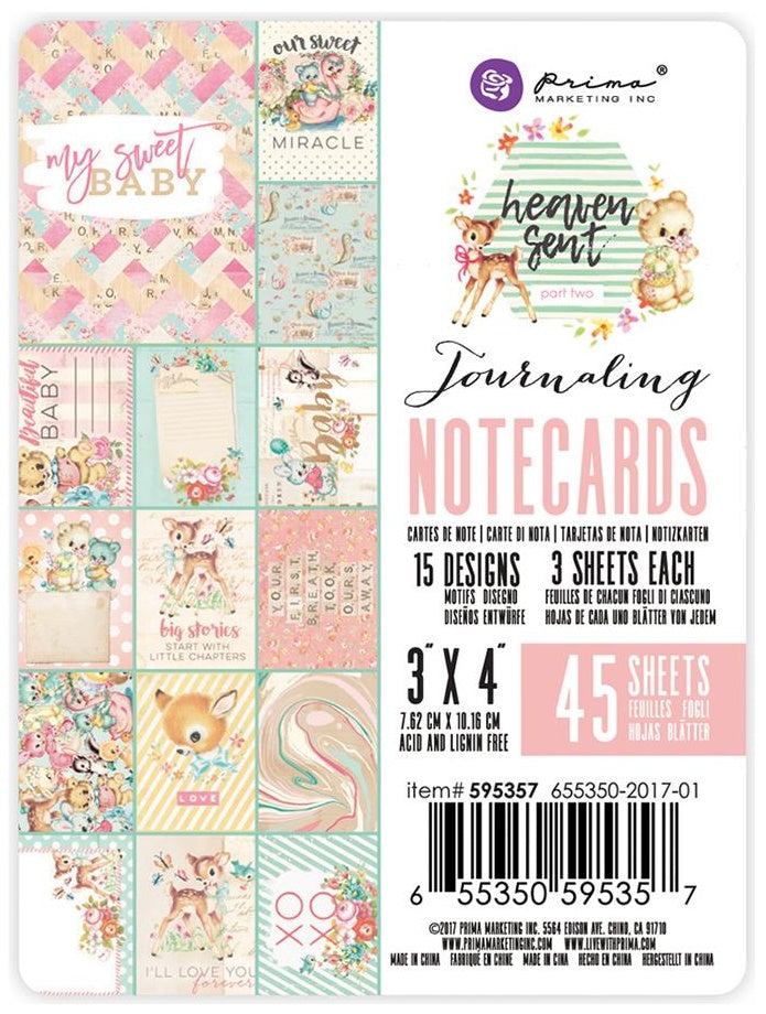 "Prima Marketing - Heaven Sent 2 Journaling Notecards - 3"" x 4"" 15 Designs/3 Each"