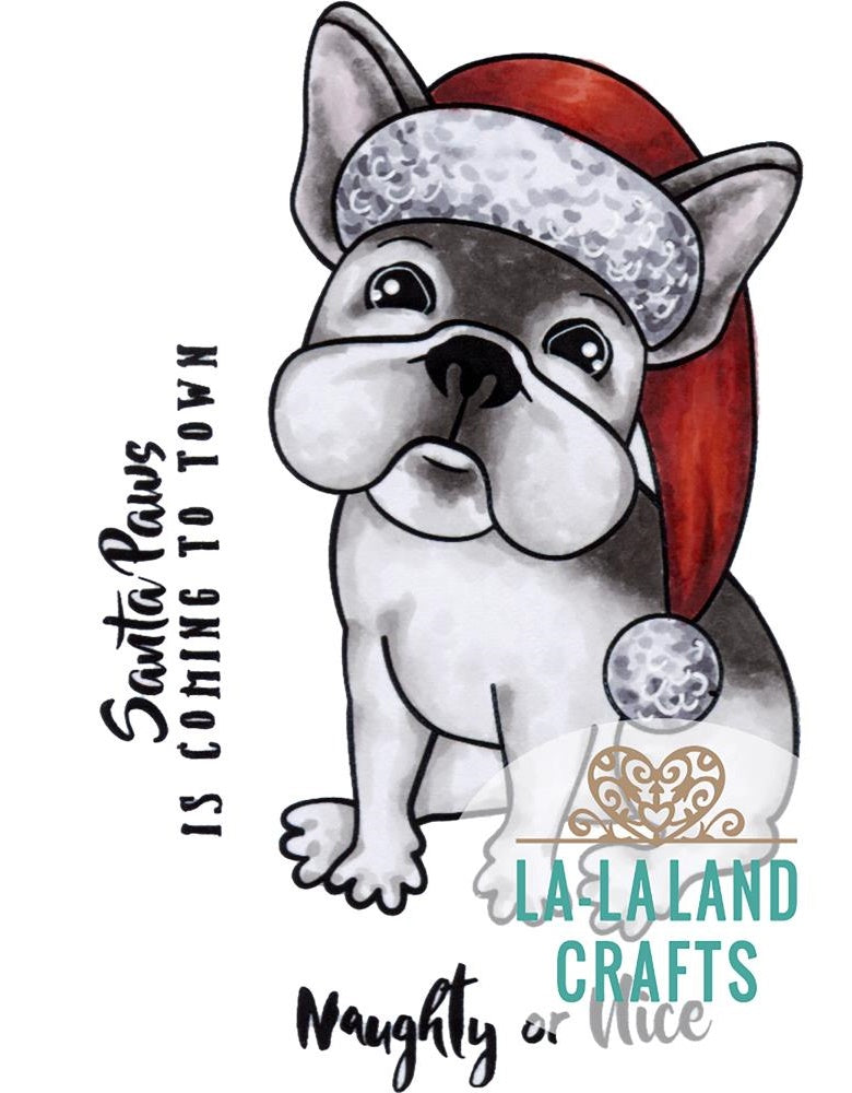 La-La Land Crafts - Cling Stamps - Christmas Frenchie