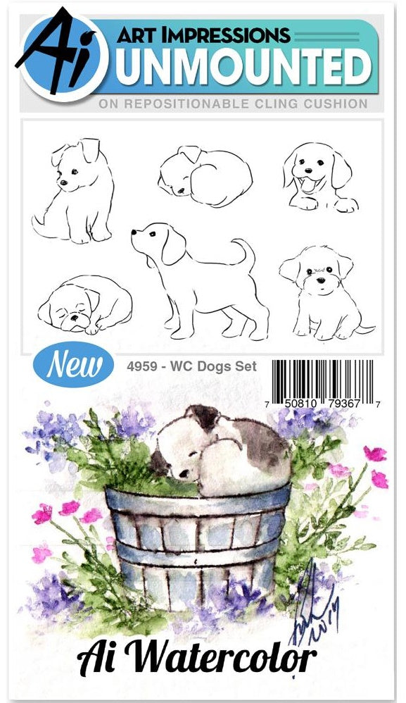 Art Impressions - Watercolor Cling Rubber Stamps - Dogs