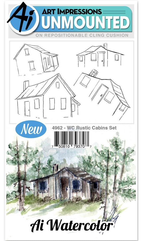 Art Impressions - Watercolor Cling Rubber Stamps - Rustic Cabins