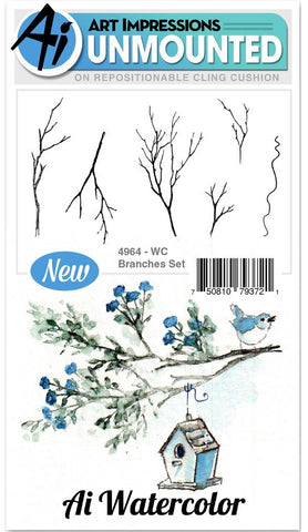 Art Impressions - Watercolor Cling Rubber Stamps - Branches