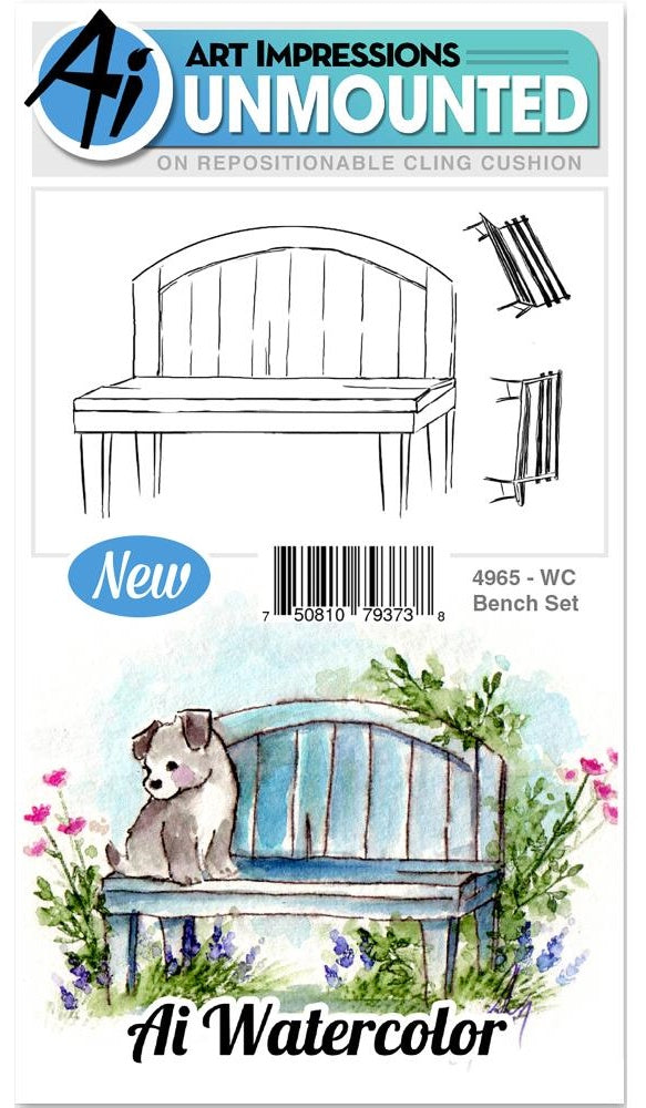 Art Impressions - Watercolor Cling Rubber Stamps - Bench