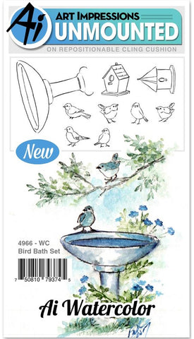 Art Impressions - Watercolor Cling Rubber Stamps - Bird Bath