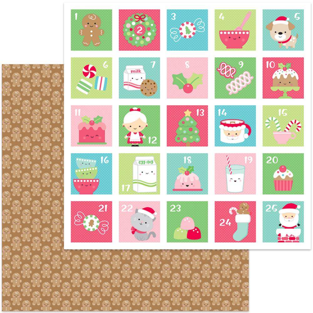 Doodlebug - Milk & Cookies Double-Sided Cardstock - Jolly Gingerbread