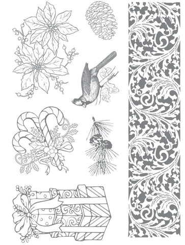 Ultimate Crafts - Stamp Set - Cardinal And Poinsettia