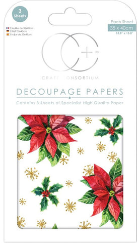 Craft Consortium - Christmas Decoupage Papers - Classic Poinsettia