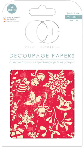 Craft Consortium - Christmas Decoupage Papers - Eclectic Christmas