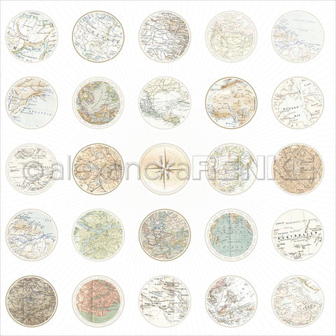 "Alexandra Renke Travel Design Paper 12""X12"" Maps Circle"