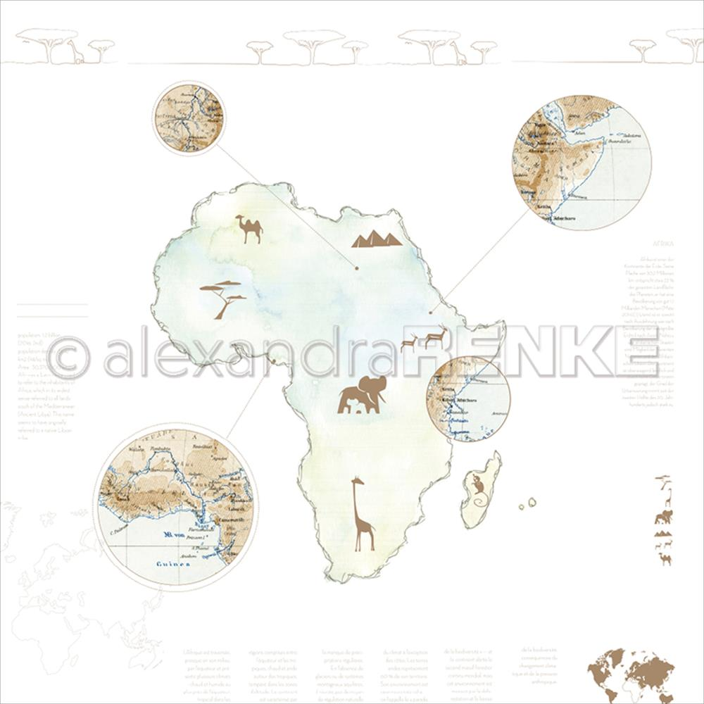 "Alexandra Renke - Travel Design Paper 12""X12"" - Africa Watercolor"