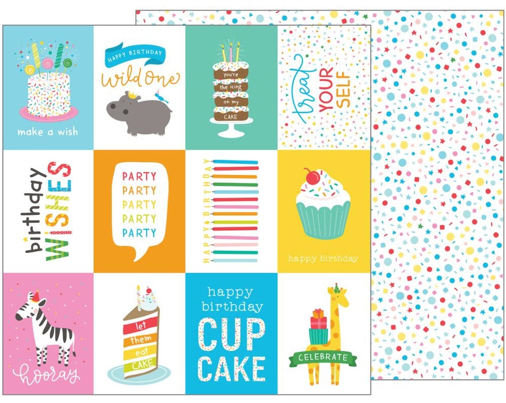 American Crafts - Happy Hooray Double-Sided Cardstock - Birthday Wishes