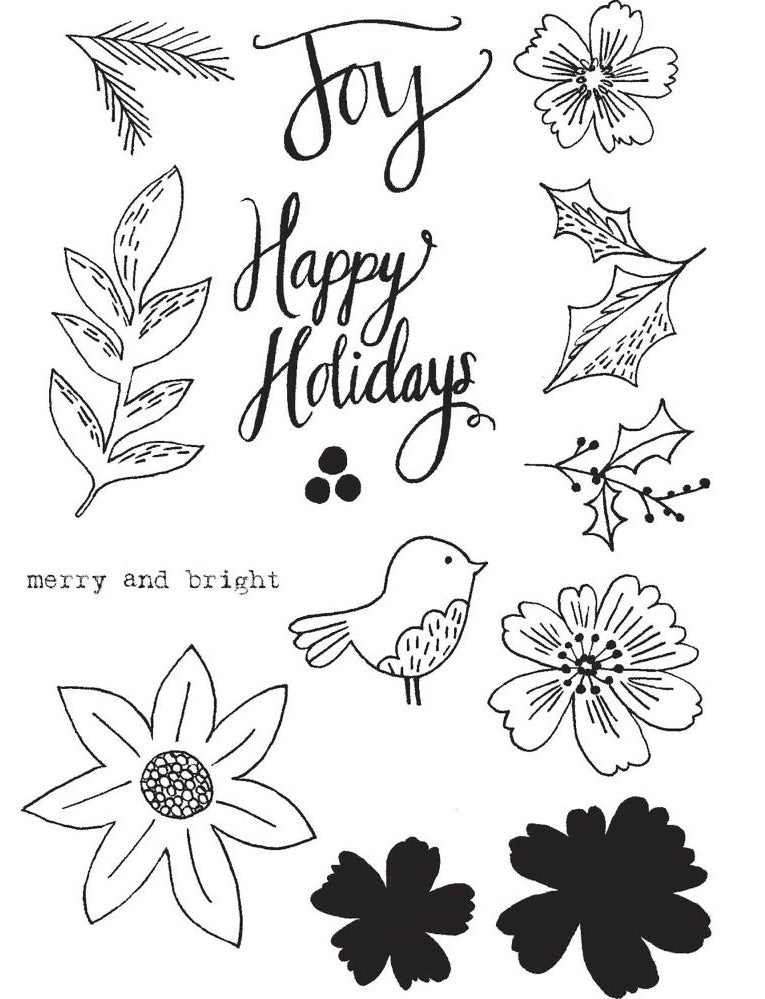 Flora and Fauna Photopolymer Clear Stamps - Floral Happy Holidays