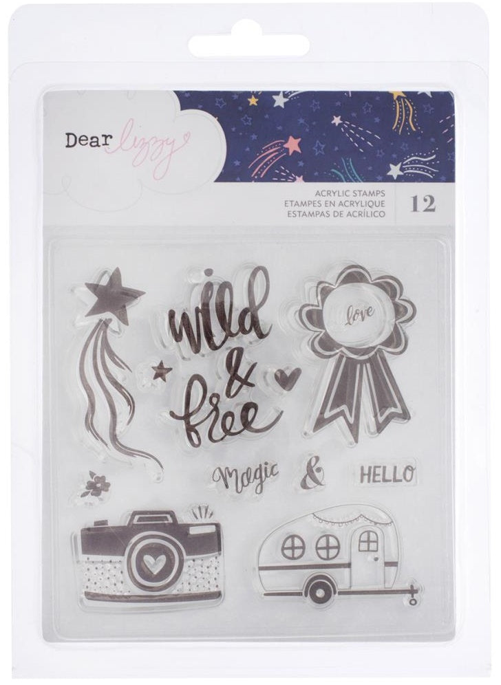 American Crafts - Dear Lizzy Star Gazer Acrylic Stamps - Phrases & Icons