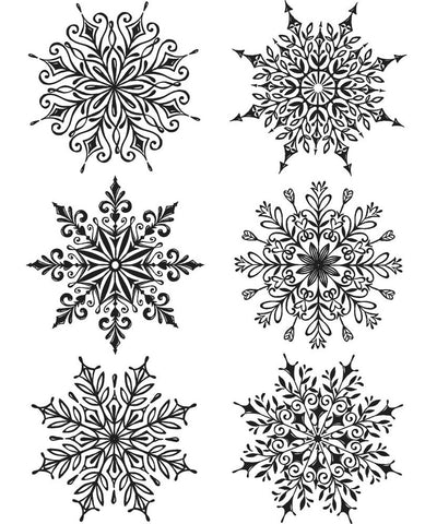 ***Pre-Order*** Tim Holtz - Stampers Anonymous Cling Stamps - Swirly Snowflakes