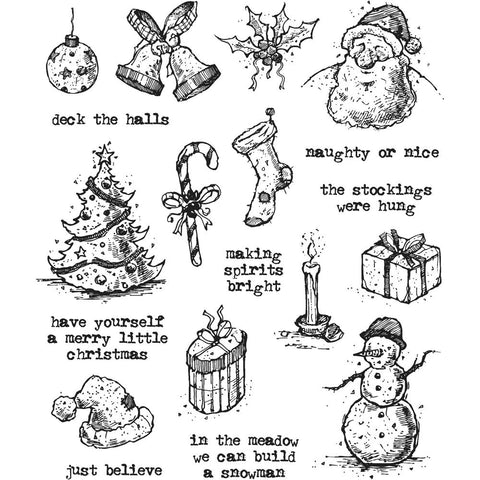 ***Pre-Order*** Tim Holtz - Stampers Anonymous Cling Stamps - Tattered Christmas