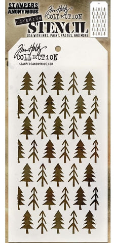 Tim Holtz - Stampers Anonymous Layering Stencil - Pines