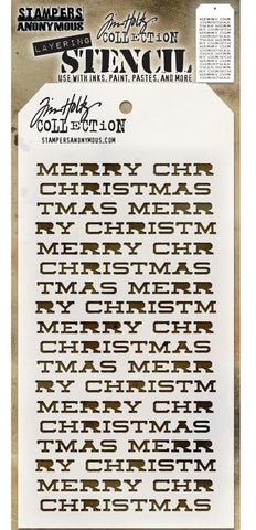 Tim Holtz - Stampers Anonymous Layering Stencil - Merry Christmas