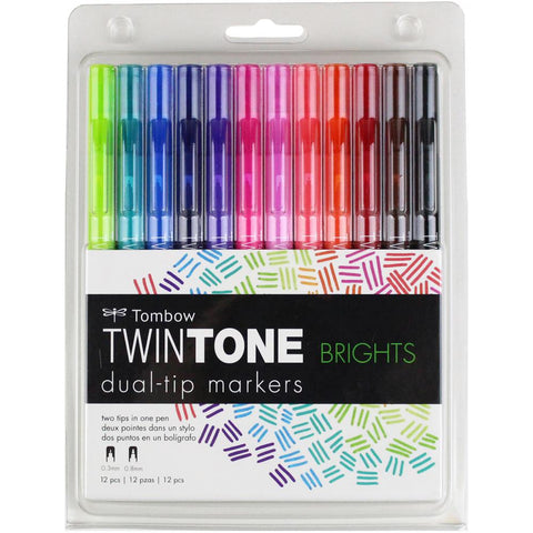 Tombow Twintone Marker Set 12/Pkg- Brights
