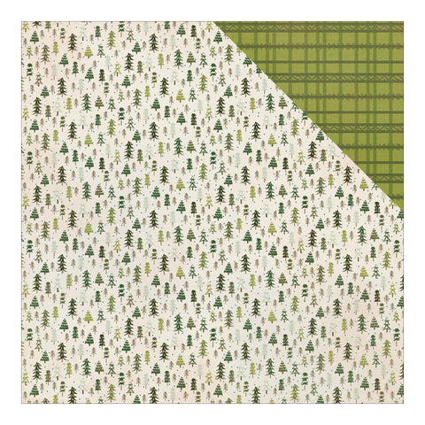 Authentique Paper - Alpine Double-Sided Cardstock - #2 Alpine Trees/Nordic Plaid