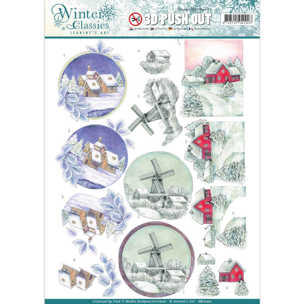 Find It - Jeanine's Art Winter Classics - 3D Push Out Sheet - Winter Landscape