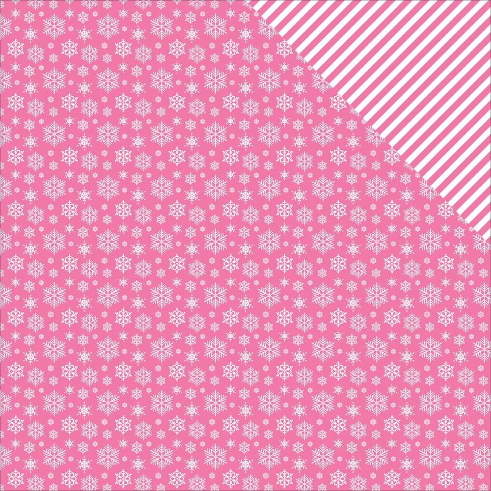 ScrapBerry's - Elegantly Festive Double-Sided Cardstock - Snowflakes/Pink Crush
