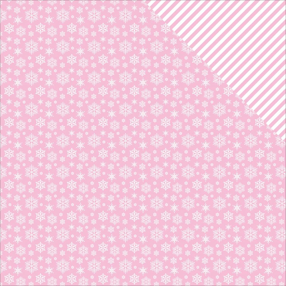 ScrapBerry's - Elegantly Festive Double-Sided Cardstock - Snowflakes/Sweet Blush