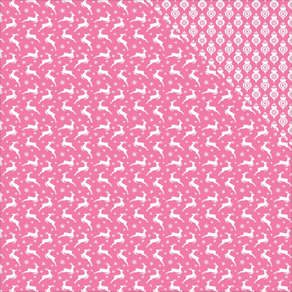 ScrapBerry's - Elegantly Festive Double-Sided Cardstock - Reindeer/Pink Crush