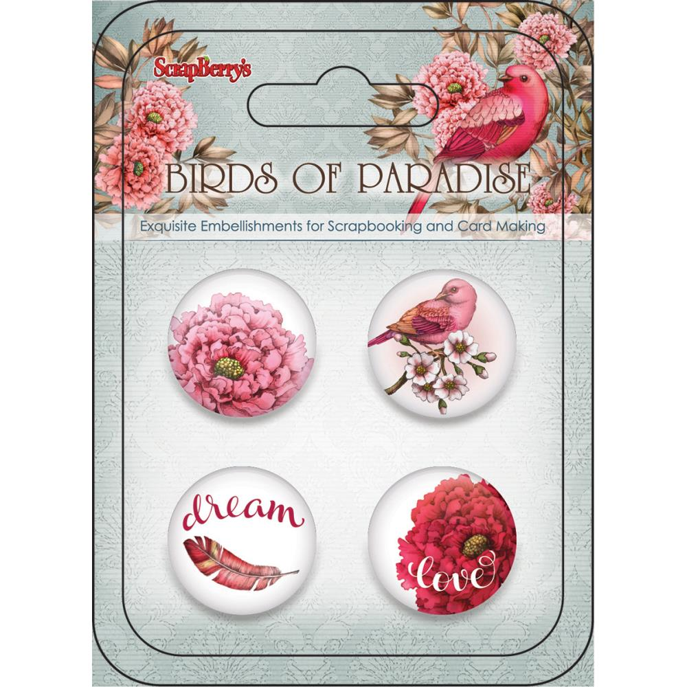 ScrapBerry's -Birds Of Paradise Embellishments - No.2 Metal Buttons
