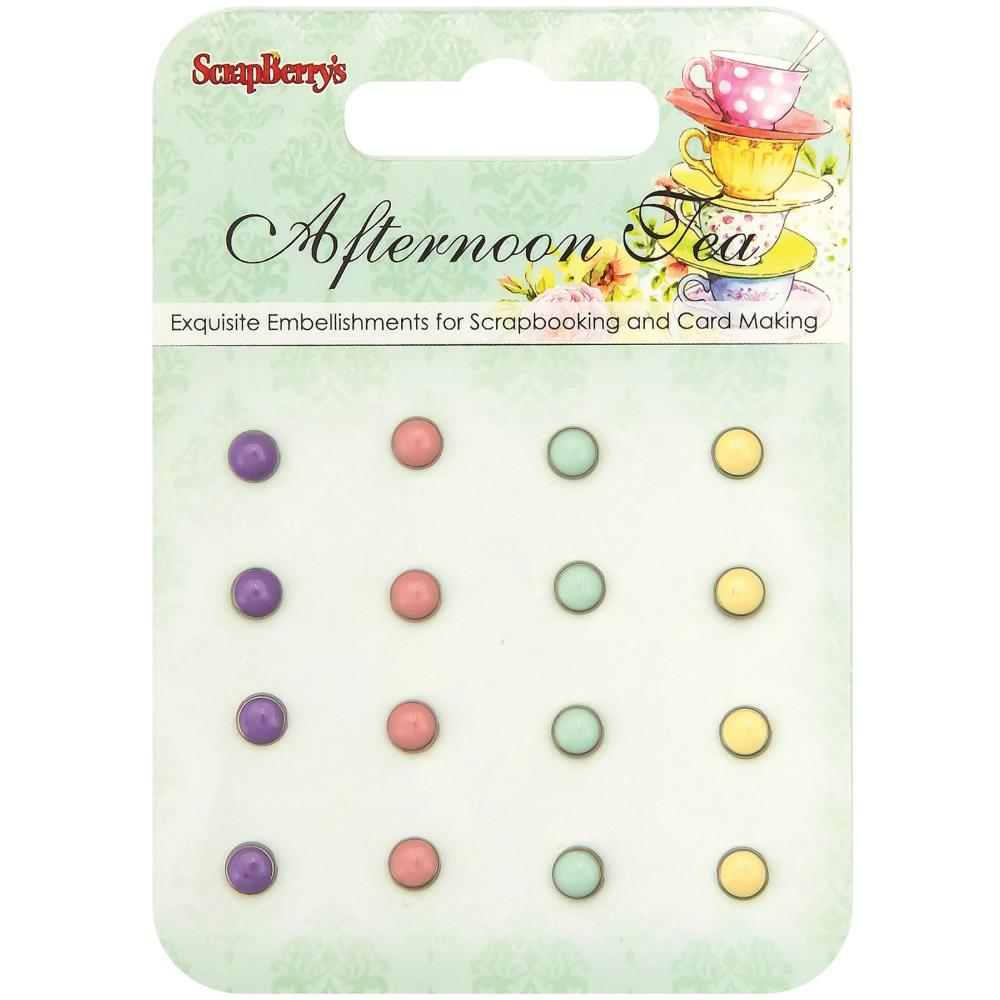ScrapBerry's -  Afternoon Tea Enamel Brads - 4 Colors/4 Each