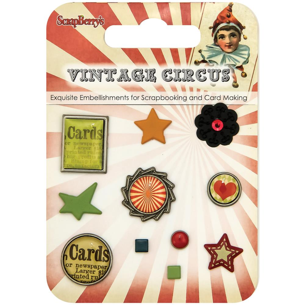 ScrapBerry's - Vintage Circus Decorative Brads  - Assorted