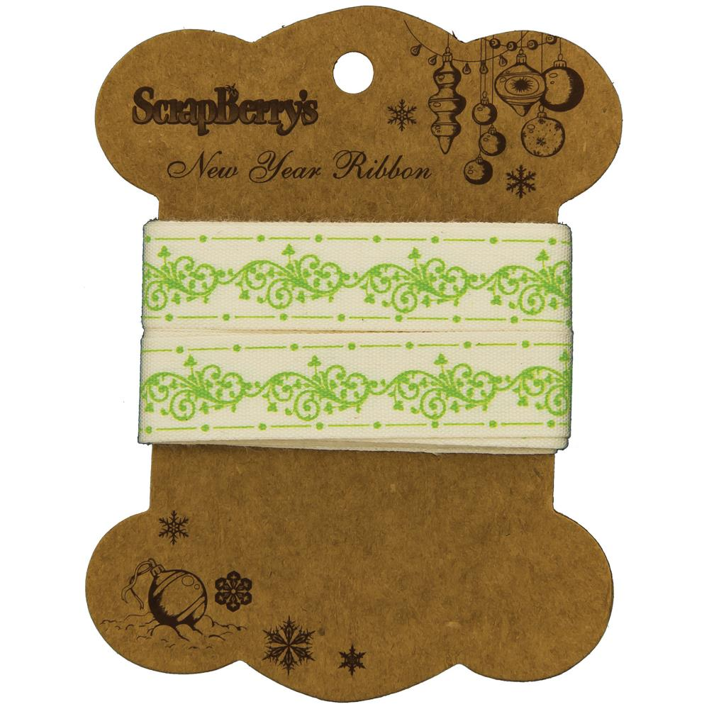 ScrapBerry's - New Year Printed Cotton Ribbon - Green Swirl