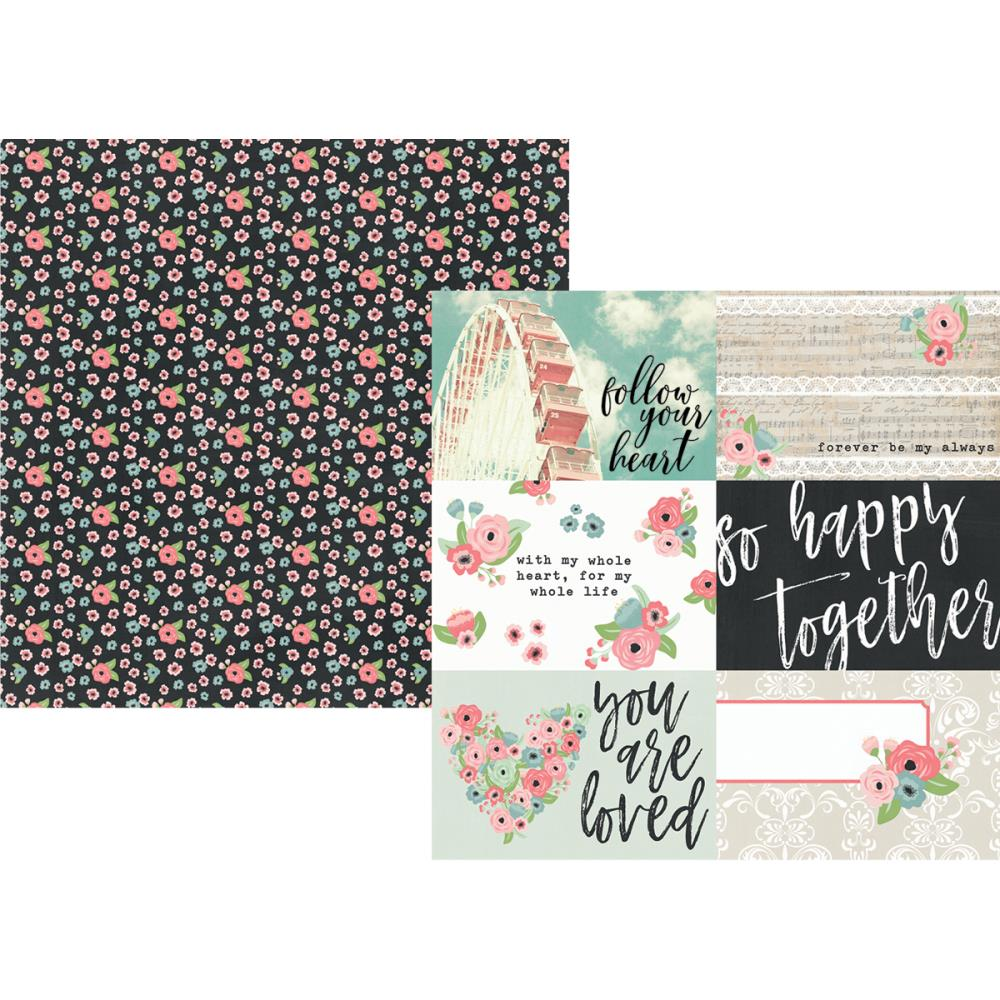 "Simple Stories - Romance Double-Sided Cardstock 12""X12"" 4""X6"" Horizontal Elements"