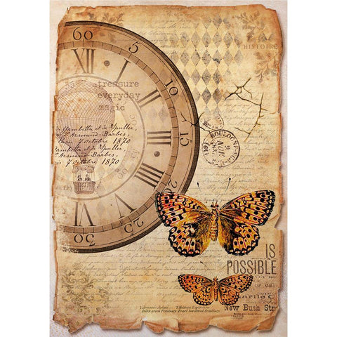 (Pre-Order) Stamperia Rice Paper Pack A4 Mixed Media Clock & Butterfly
