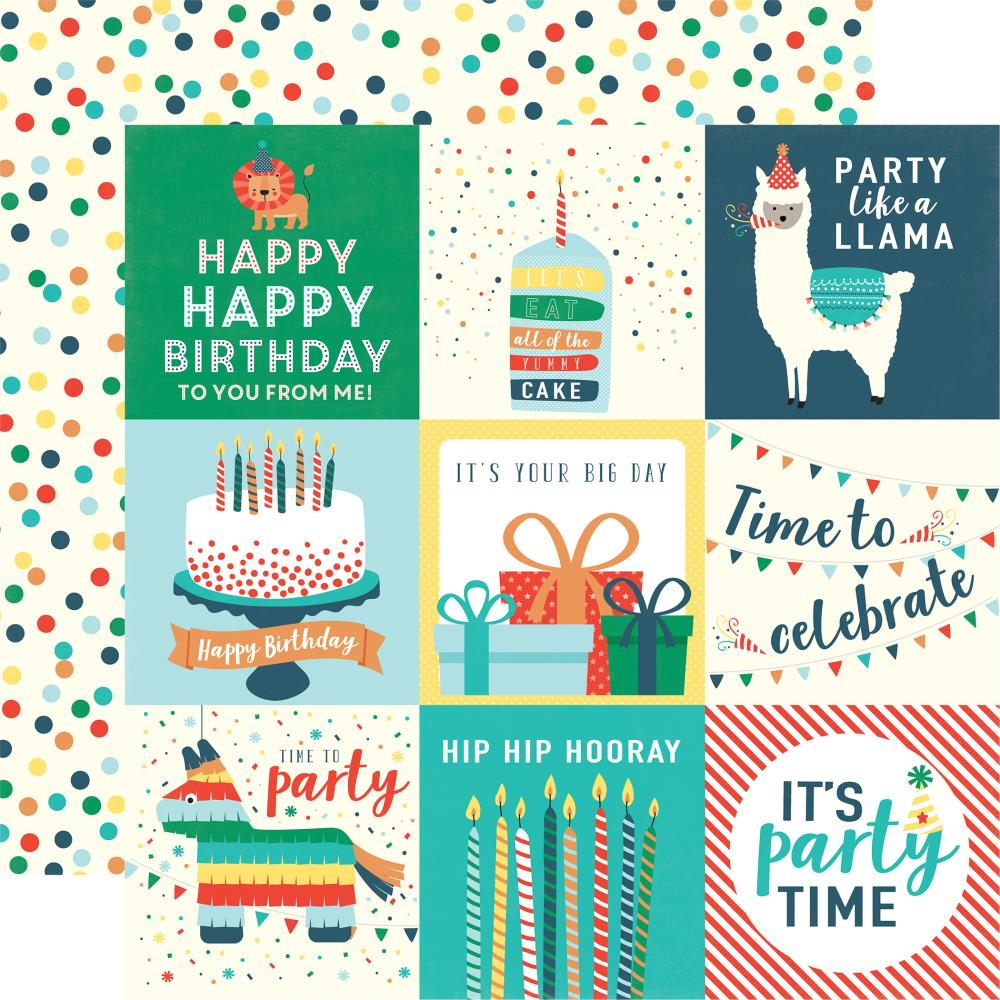 "Echo Park - Happy Birthday Boy Double-Sided Cardstock 12""X12"" 4""X4"" Journaling Cards"