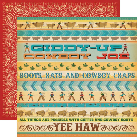"(pre order) Carta Bella - Cowboy Country Double-Sided Cardstock 12""X12"" Giddy Up"