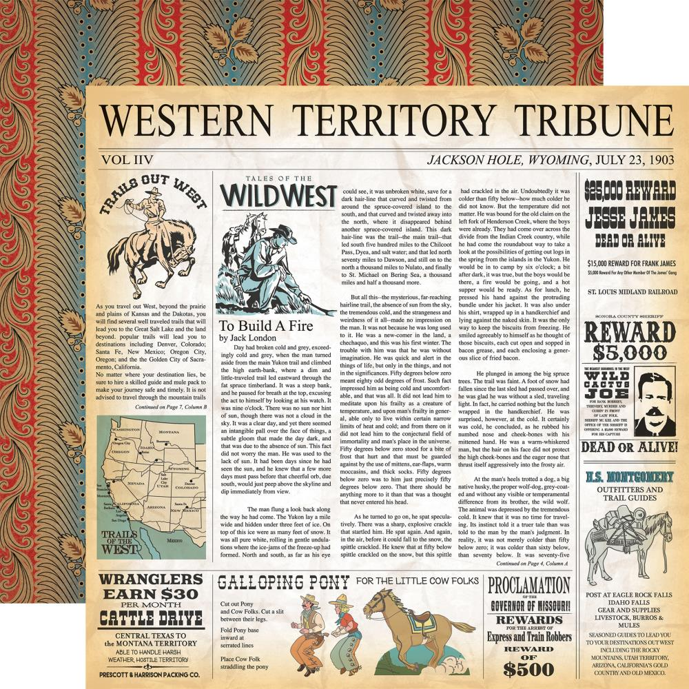 "Carta Bella - Cowboy Country Double-Sided Cardstock 12""X12"" Western Territory"