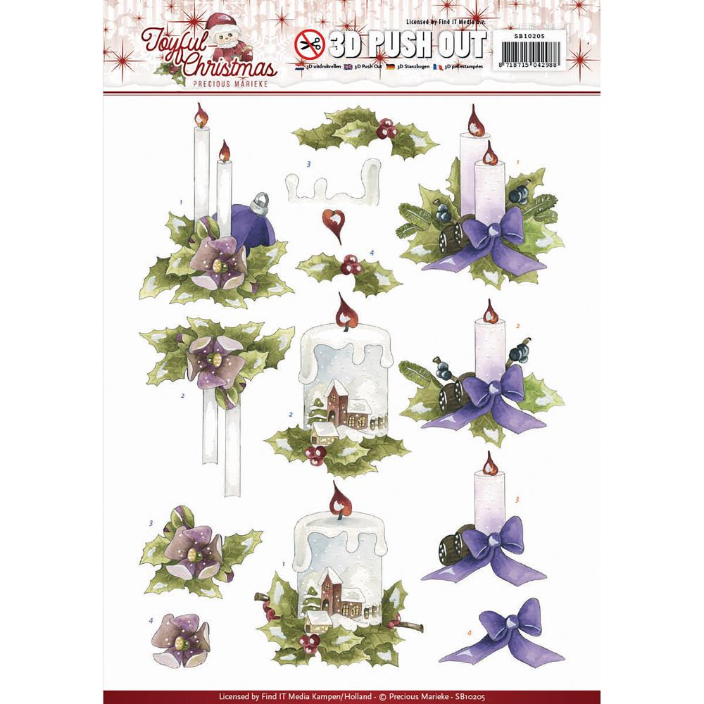Find It Trading - Find It Precious Marieke Joyful Christmas 3D Push Out Sheet - Christmas Candles
