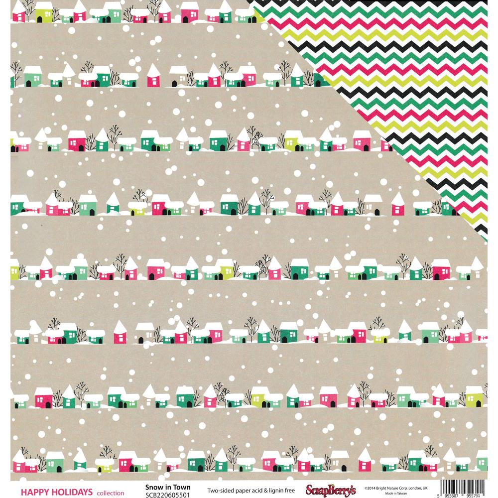 ScrapBerry's - Happy Holidays Double-Sided Cardstock - Snow In Town