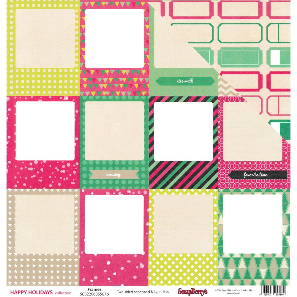 ScrapBerry's - Happy Holidays Double-Sided Cardstock - Frames