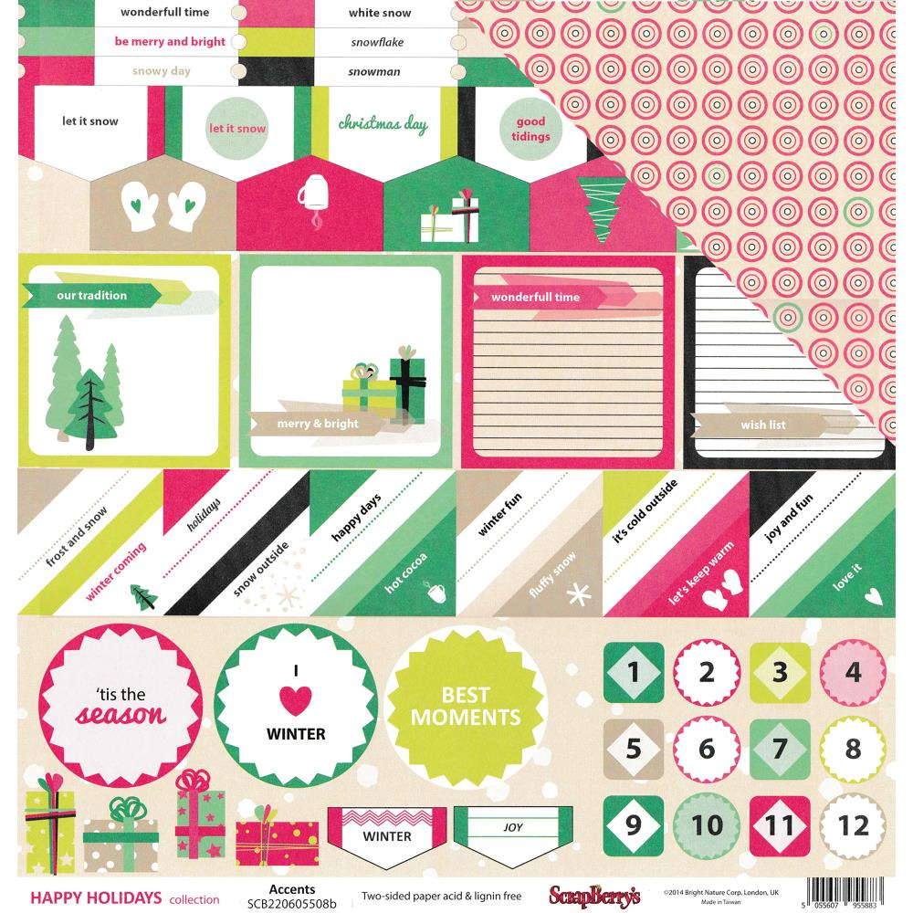 ScrapBerry's - Happy Holidays Double-Sided Cardstock - Accents