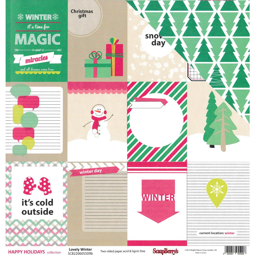 ScrapBerry's - Happy Holidays Double-Sided Cardstock - Lovely Winter