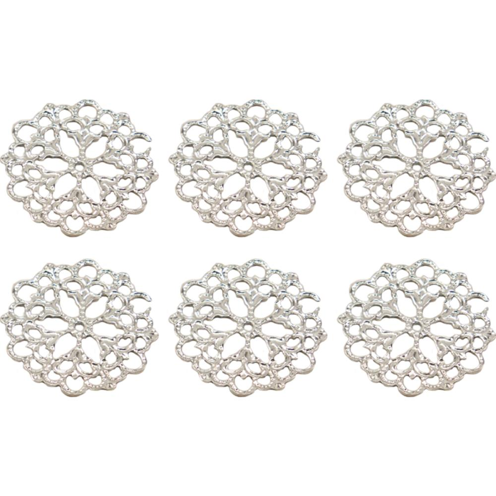 Ultimate Crafts Bohemian Bouquet Metal Charms 2/Pkg Petal Doily