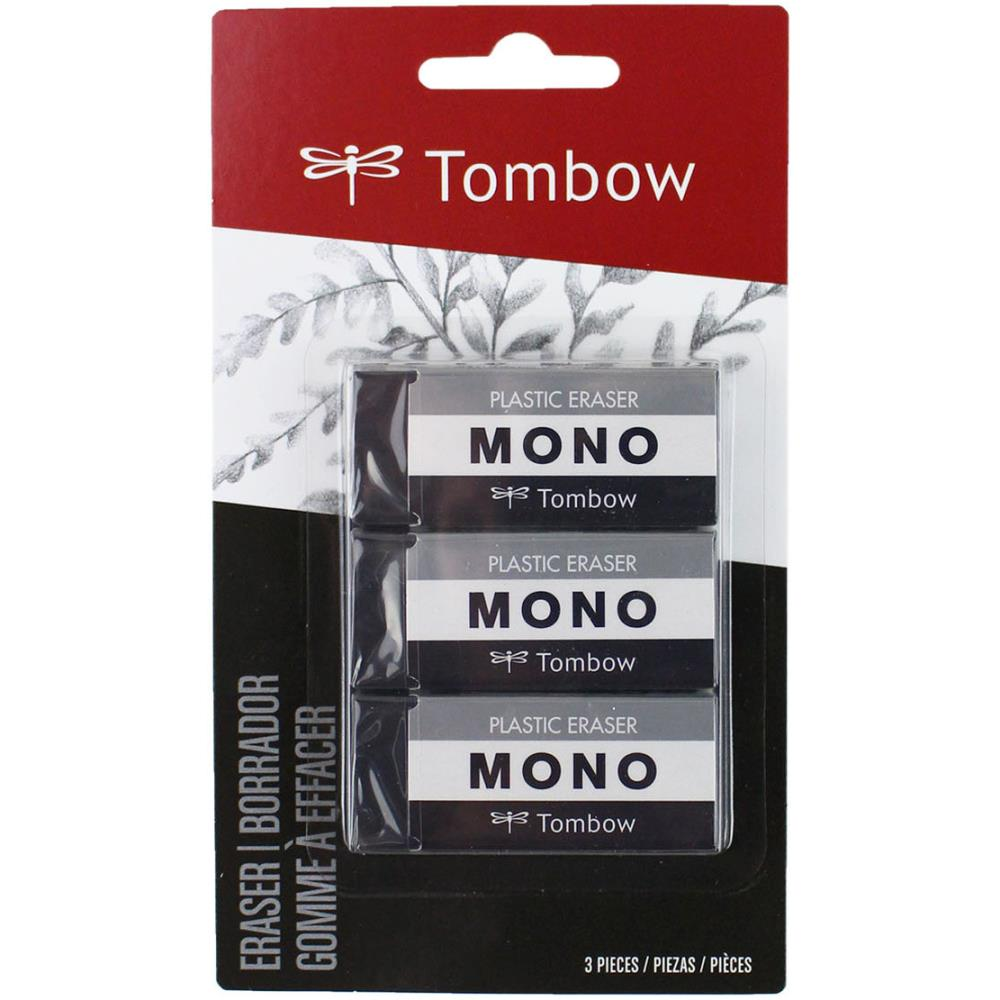 Tombow MONO Medium Plastic Eraser 3/Pkg Black