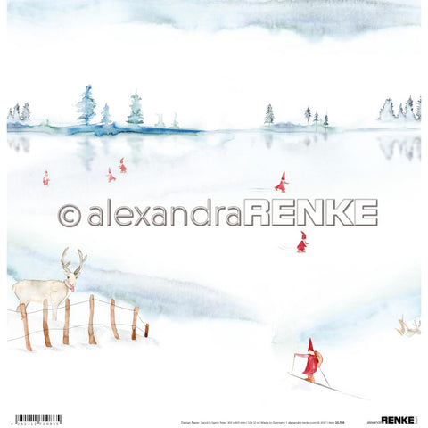 "(Pre Order) Alexandra Renke Winter Paper 12""X12"" Gnomes On The Lake"