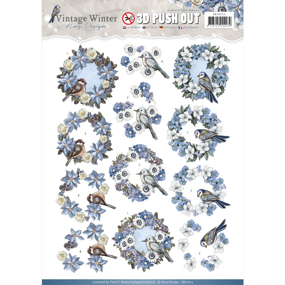 Find It Trading - Find it Amy Design Vintage Winter Punchout Sheet - Wreaths