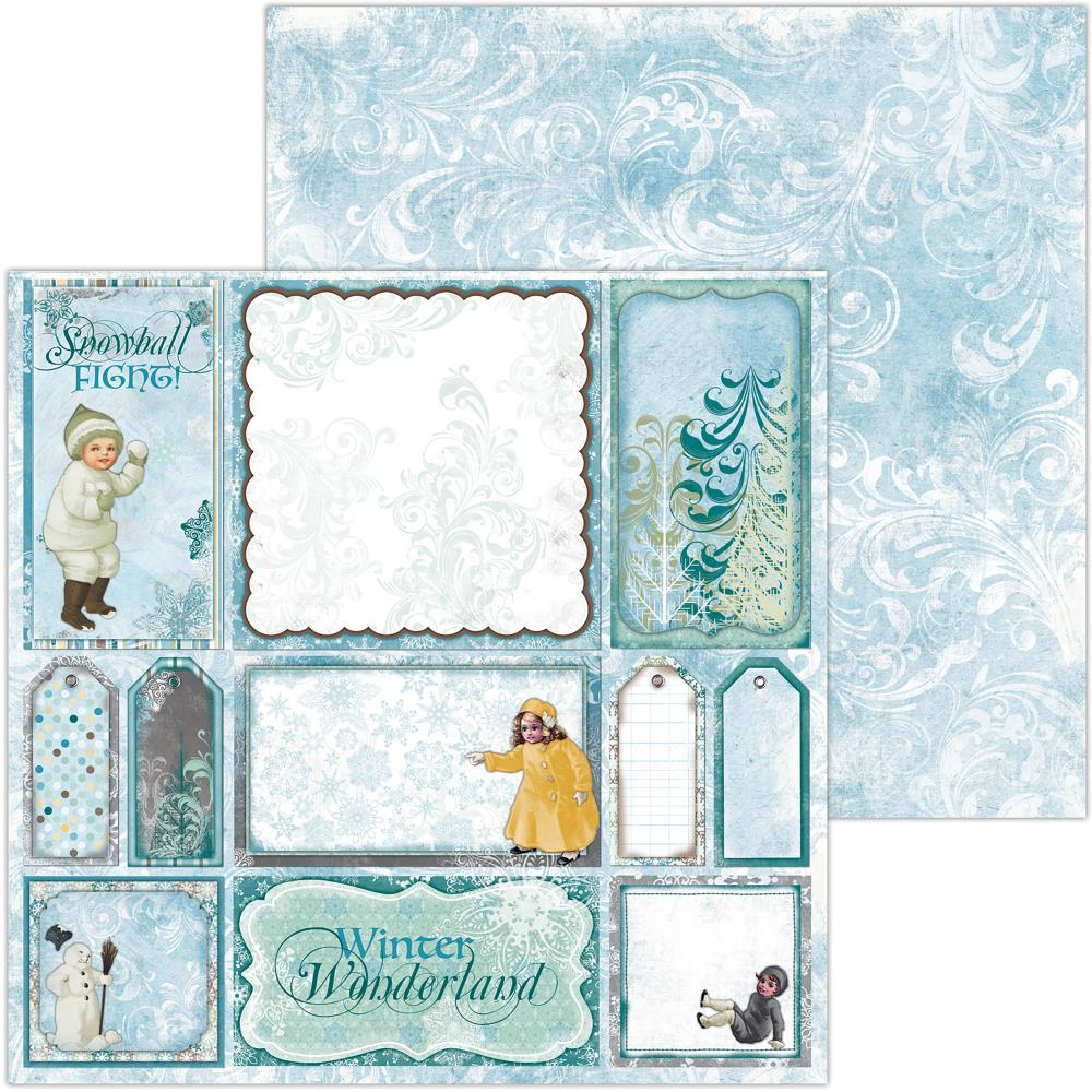 "BoBunny - Winter Playground Double-Sided Cardstock 12""X12"" - Snowball"